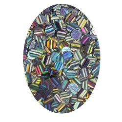 Декор кружочки в баночке серебро голографик (средние)