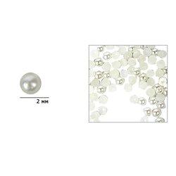 Жемчуг в баночке Nail World №01 - белый перламутр, 2 мм