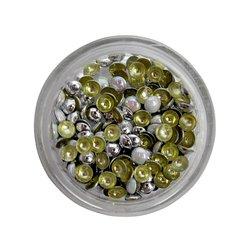 Заклепки металлические для ногтей в баночке - белый перламутр (круг)
