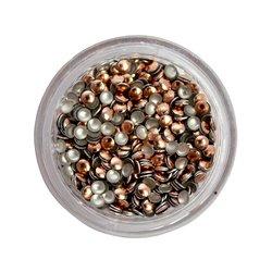 Заклепки металлические для ногтей в баночке - бронза (круг)