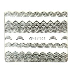 Наклейка Nail World 3D кружево серебро №02