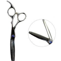 Филировочные ножницы для стрижки ESTET стальные с синим стразом 6.0 (ЭС)