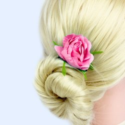Заколка, цветок роза - розовый, 5см, 1 шт