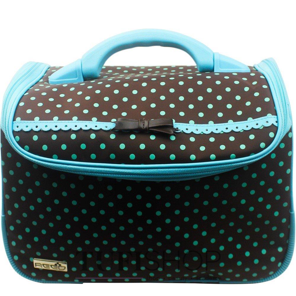 Сумка (валіза) для майстра - коричневий в блакитний горох з бантом ... 6dd6ef20e5b83