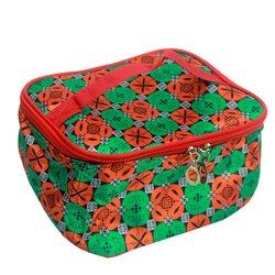 Косметичка-чемоданчик - красно - зеленый узор маленький (CR-466)